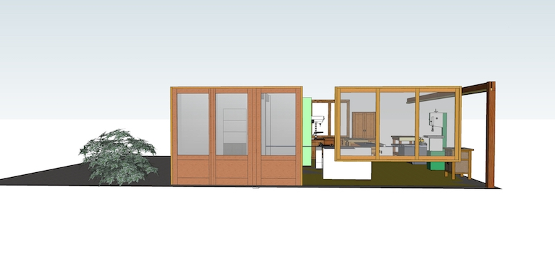 Extension de mon atelier. Les portes de la façade Portes11