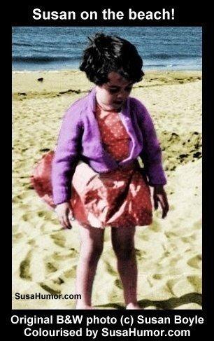 Susan on beach as a child (colourised)! Susano12
