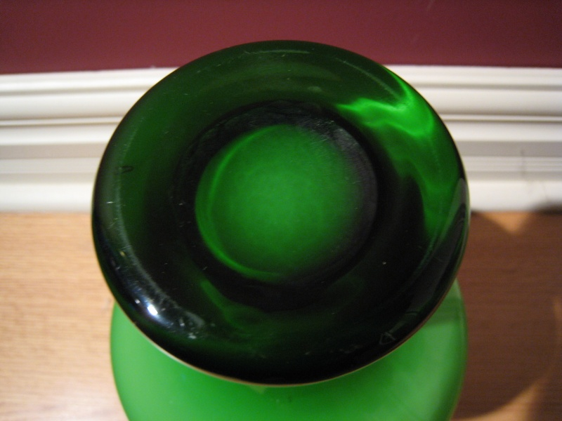 Swedish Green and White Glass Vases Img_2415