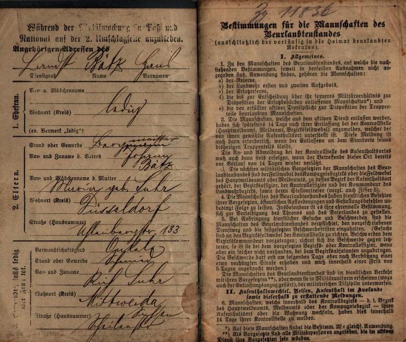 Militärpaß 1916 : KIR 145 Metz 0111