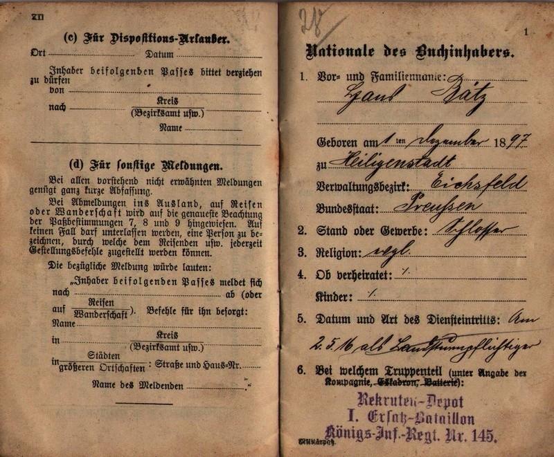 Militärpaß 1916 : KIR 145 Metz 0211