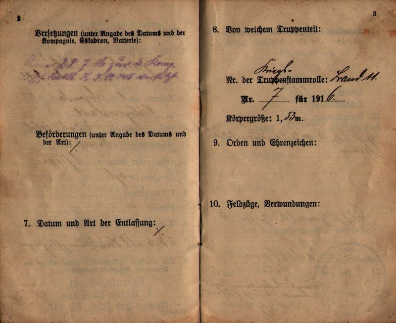 Militärpaß 1916 : KIR 145 Metz 0311
