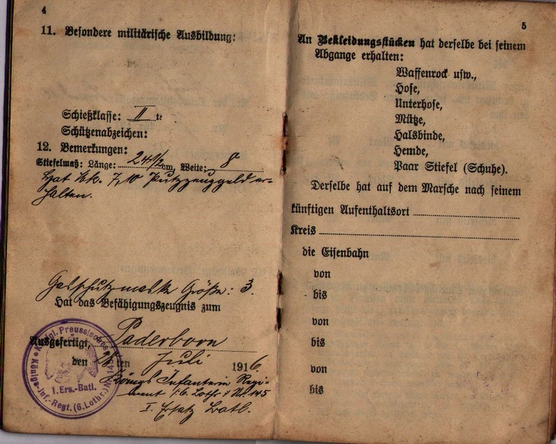 Militärpaß 1916 : KIR 145 Metz 0410