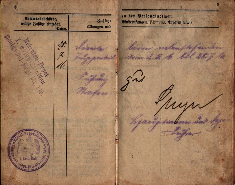 Militärpaß 1916 : KIR 145 Metz 0510