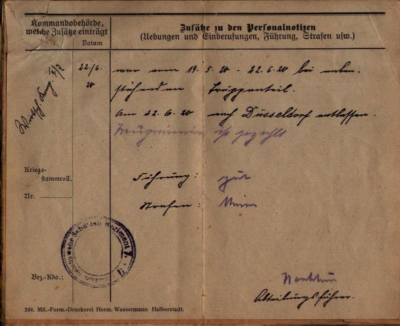 Militärpaß 1916 : KIR 145 Metz 0610