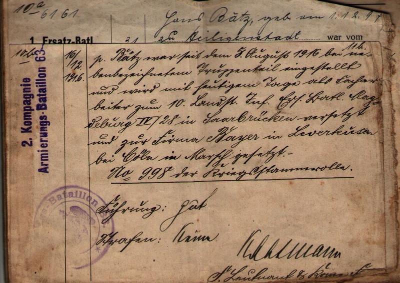 Militärpaß 1916 : KIR 145 Metz 0710