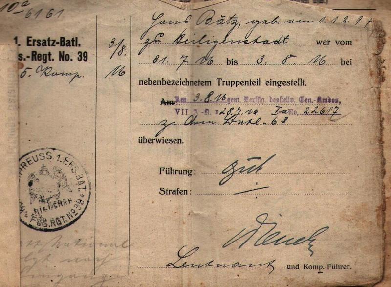 Militärpaß 1916 : KIR 145 Metz 0810