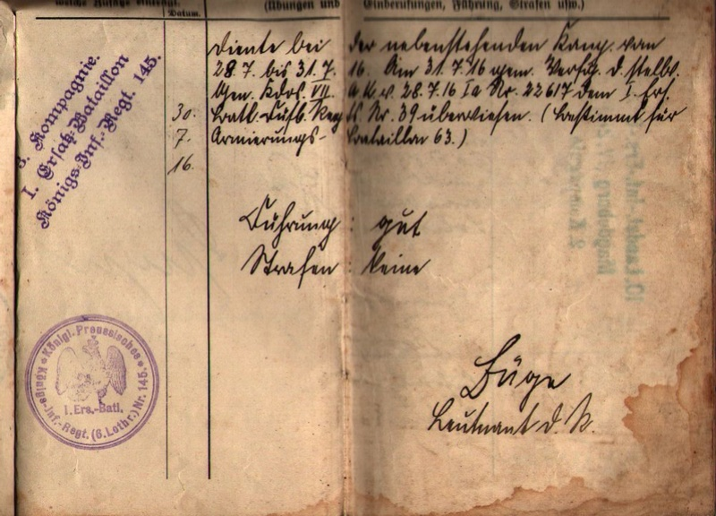 Militärpaß 1916 : KIR 145 Metz 0910