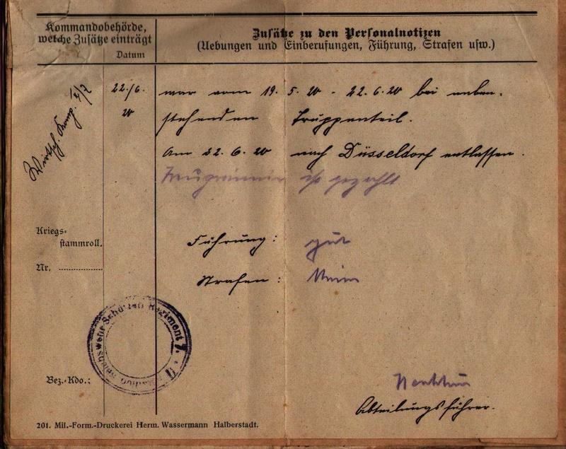 Militärpaß 1916 : KIR 145 Metz 1110