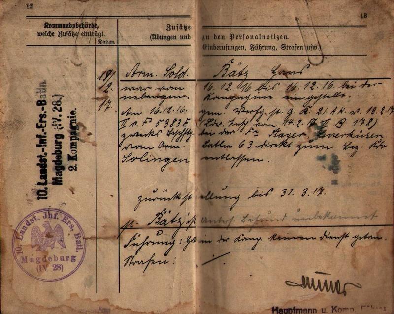 Militärpaß 1916 : KIR 145 Metz 1210