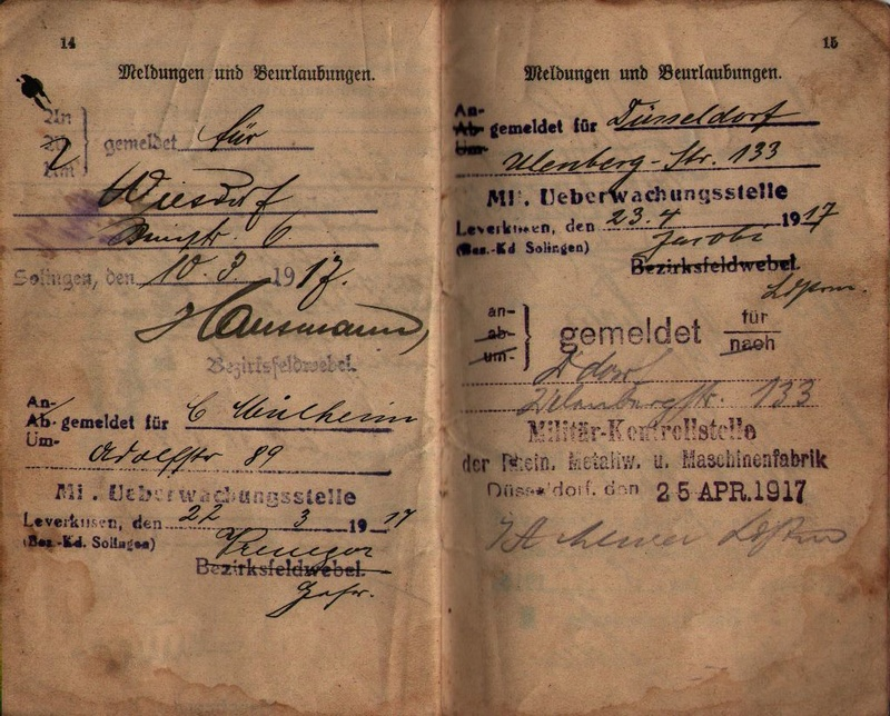 Militärpaß 1916 : KIR 145 Metz 1310