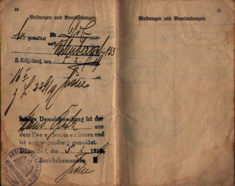 Militärpaß 1916 : KIR 145 Metz 1410