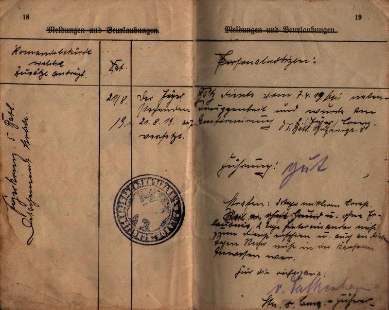 Militärpaß 1916 : KIR 145 Metz 1510