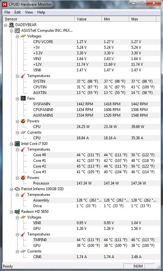 HWMonitor  System monitoring utility Screen47