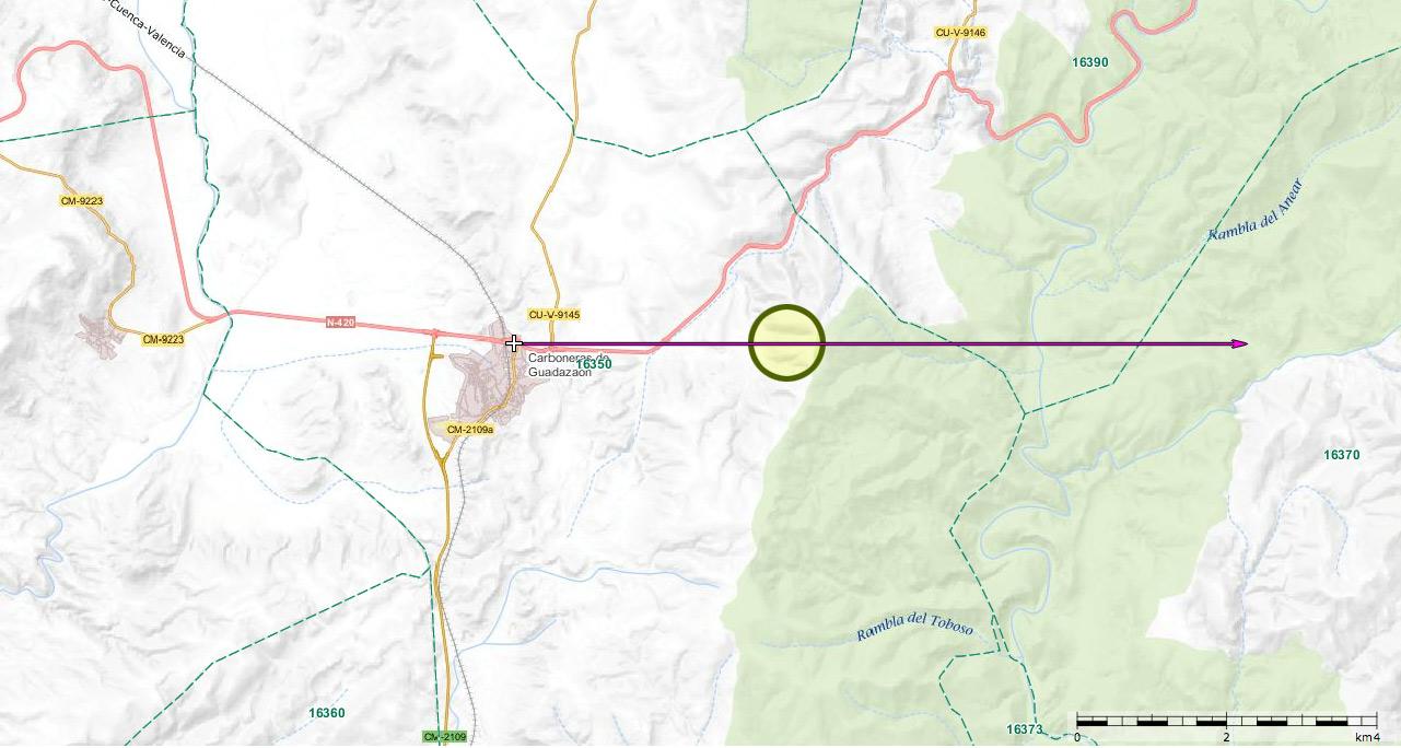 2009: le24 /07 à 22h00 - Un engin de grande taille -  Ovnis à carboneras de guadazaon, village - Map111