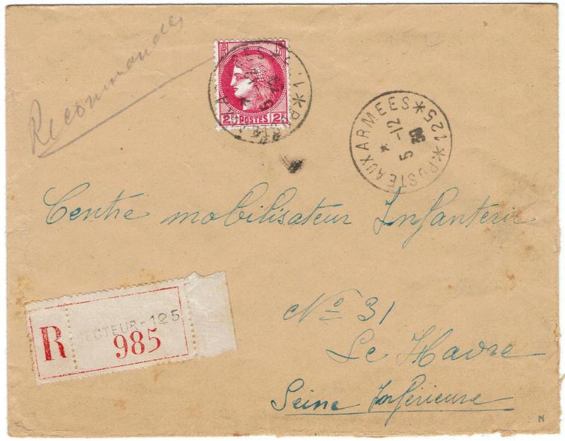 lettre recommandée et franchise postale 1939_r10