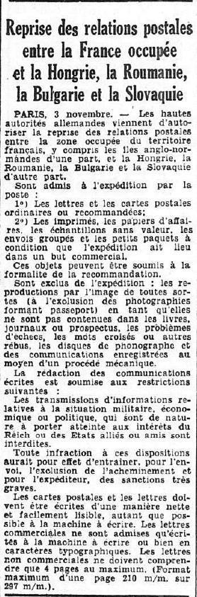 """Cachet """" Refoulé par bureau postal Lyon gare """". 19411110"""