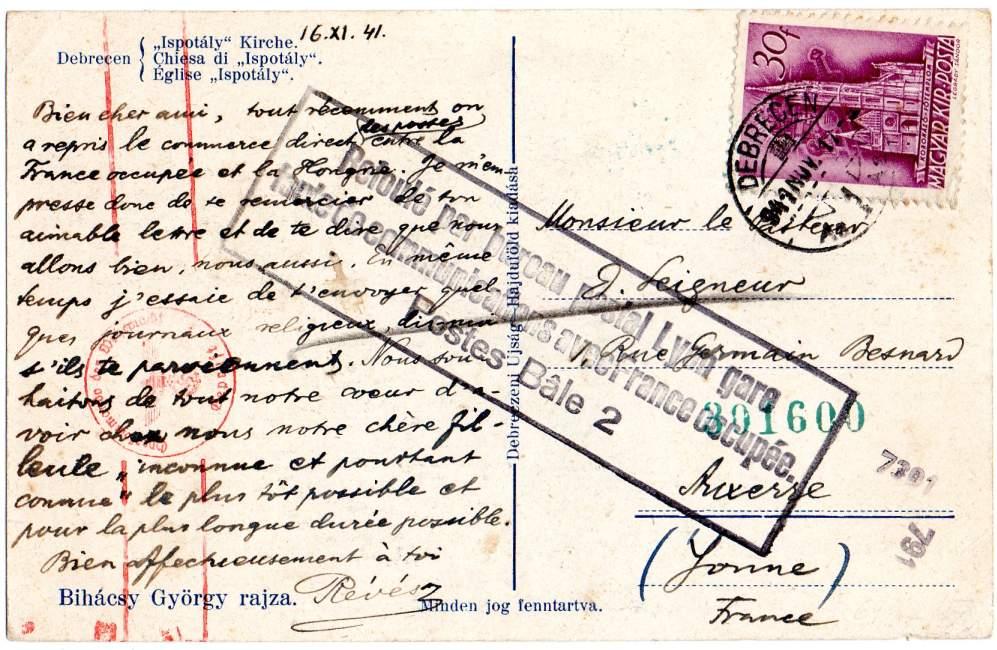 """Cachet """" Refoulé par bureau postal Lyon gare """". 1941_l11"""