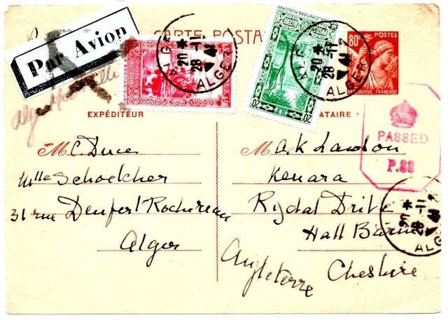 Croix ou lignes parallèles,au tampon, sur étiquettes PAR AVION 1941_u11