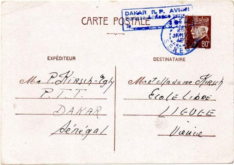 Utilisation des entiers Iris et Pétain et cartes interzones hors de France 1942_i10