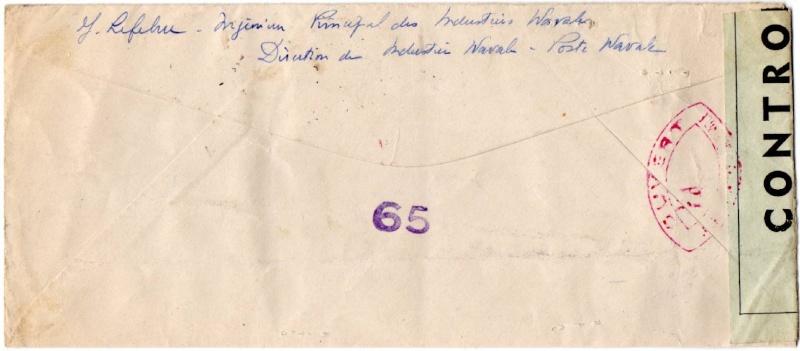 ENVELOPPE POSTE NAVALE RF à CASABLANCA 1944 1944_n11