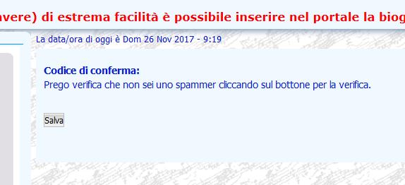 """Viene richiesto """"Prego verifica che non sei uno spammer """" ma non c'è campi x scrivere Vuoto10"""