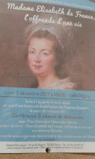 """Madame Elisabeth,  """" en marche """" vers la béatification Confyr10"""