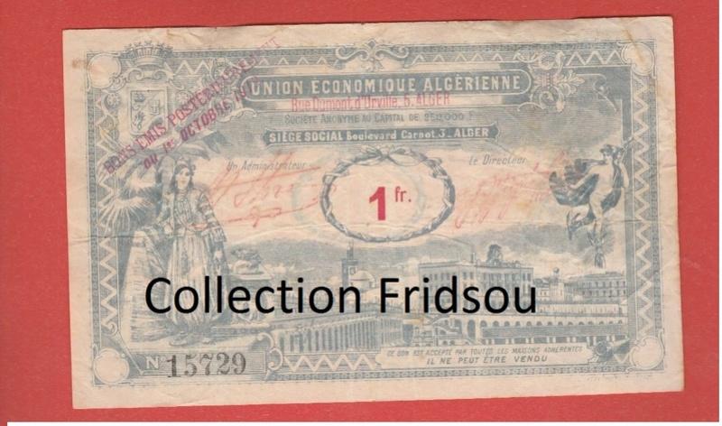 1,5 et 10 Francs Union économique oranaise et algérienne  Algérie  110