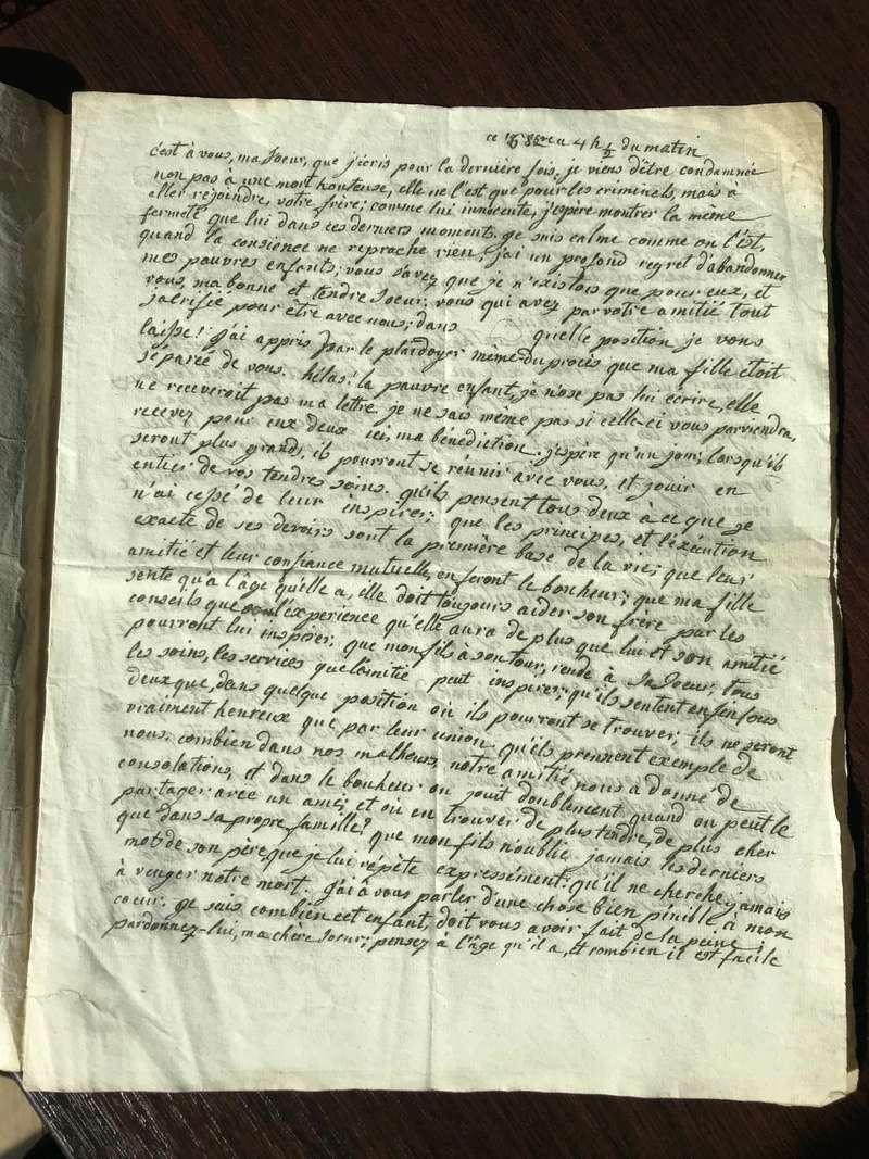 Testament / Lettre de Marie-Antoinette à Madame Elisabeth, le 16 octobre 1793 - Page 2 Img_4426