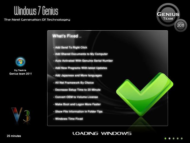 """ويندوز اكس بى الرهيب """" Windows XP 7 Genius Edition 3 """" الويندوز الاخف والاجمل والاقوى. بحجم 699 ميجا . تحميل مباشر وعلى سيرفرات متعددة 52355110"""