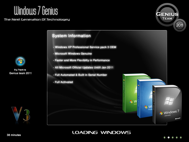 """ويندوز اكس بى الرهيب """" Windows XP 7 Genius Edition 3 """" الويندوز الاخف والاجمل والاقوى. بحجم 699 ميجا . تحميل مباشر وعلى سيرفرات متعددة 90276110"""