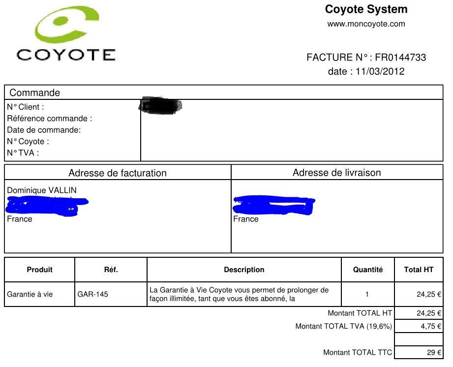 """Infos sur la garantie """"à vie"""" Coyote  Factur11"""