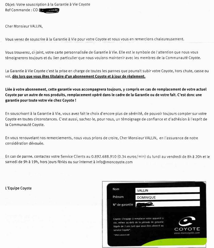 """Infos sur la garantie """"à vie"""" Coyote  Garant11"""