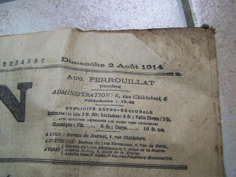 baïonnette à douille et journal du 2 août 1914 00914