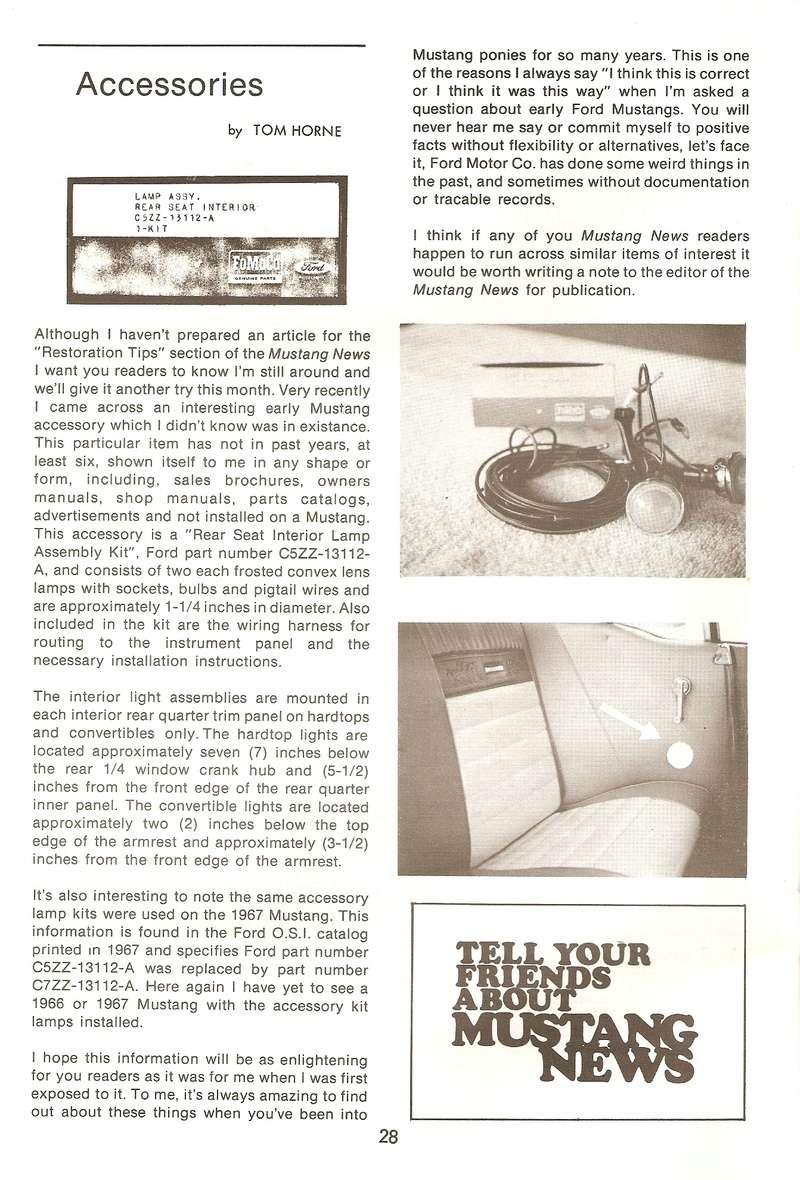 (9) Option, lumières pour siège arrière, Mustang hardtop et décapotable 1967 Lumiyr10