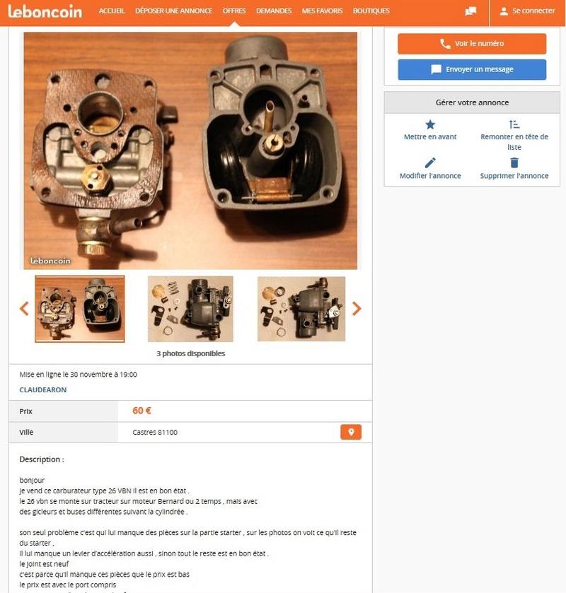 carburateur - carburateur  solex 26  vbn   pieces  etc 26vbnb10