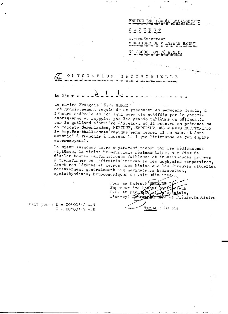 [ Les traditions dans la Marine ] Les diplômes de la Ligne - Page 5 Convoc11