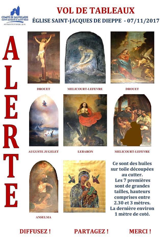 Vol de tableaux dans l'église Saint Jacques de Dieppe 23561310