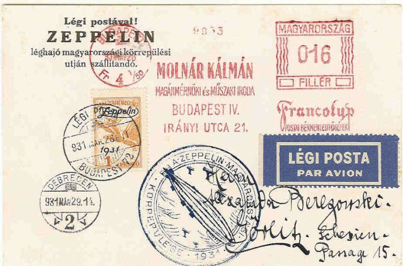 ungarn - Zeppelinbeleg aus Ungarn  102_ba10