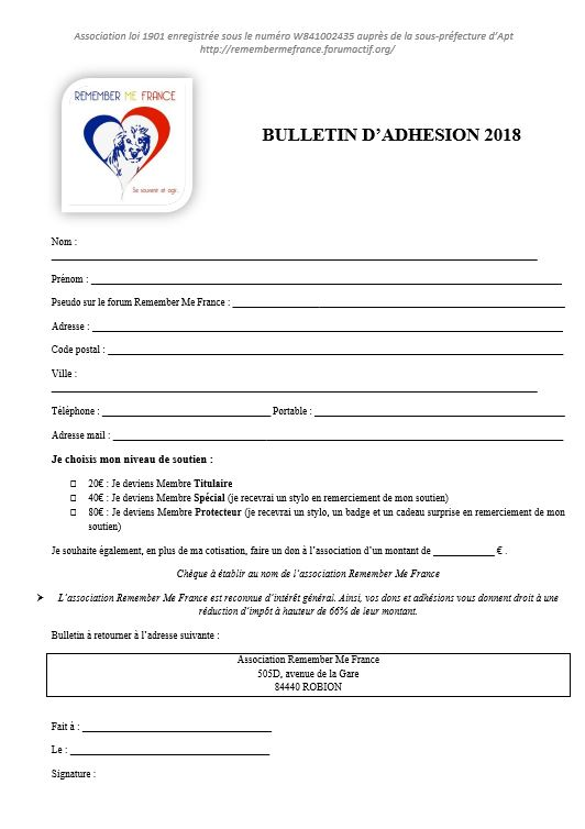 adhesion - Bulletin d'adhésion 2018 118