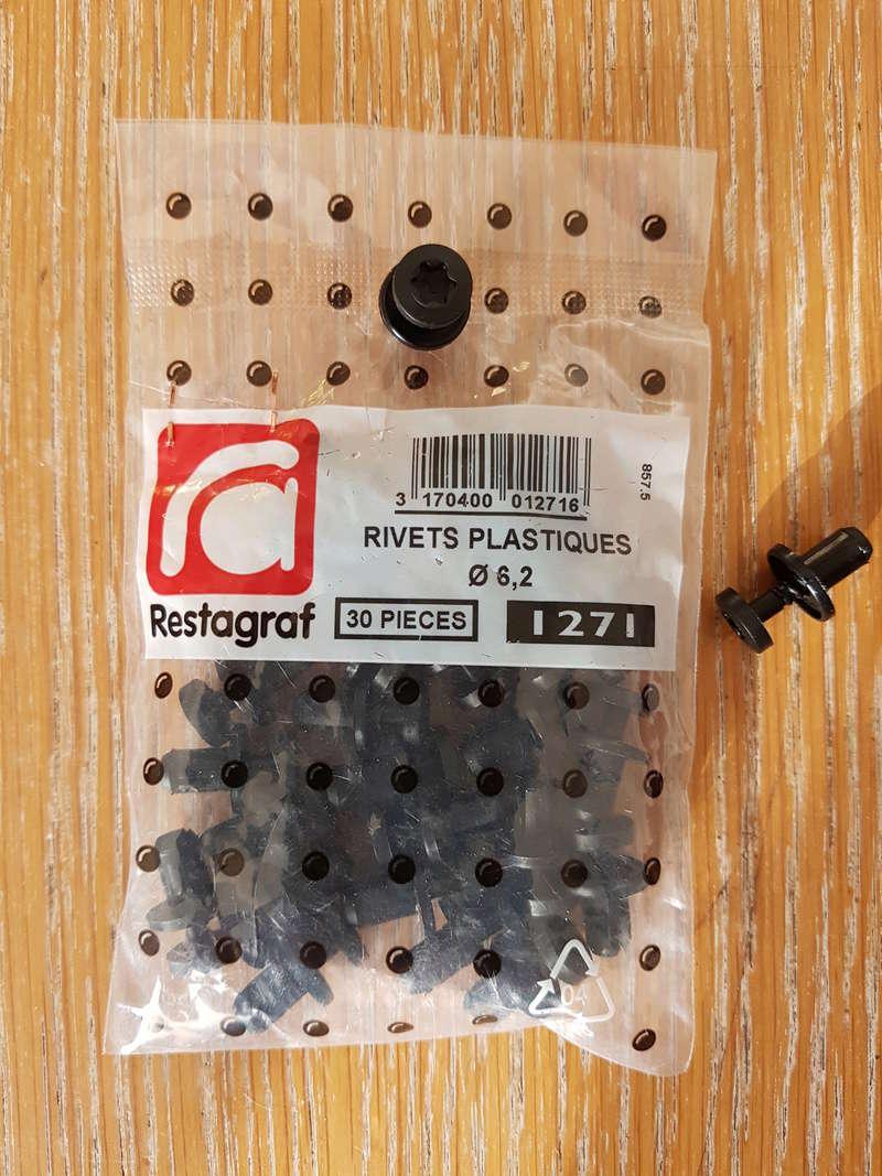 rivets, clips, attaches couvercle inférieur avant . 20180319