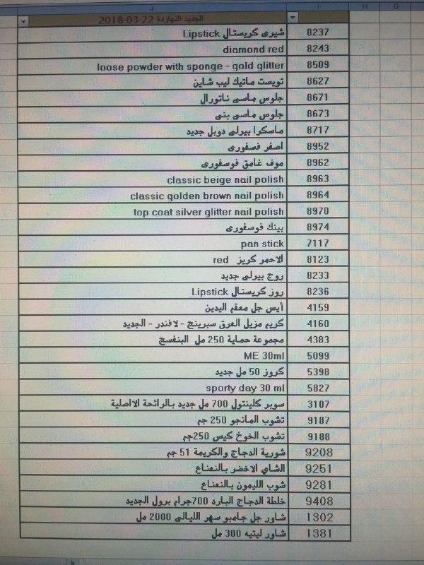 منتجات توفرت بفرع شحن القاهره اليوم الخميس 22 مارس 2018 00000059