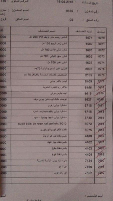 منتجات توفرت اليوم الخميس 19 ابريل 2018   بفرع كفر الشيخ  1230