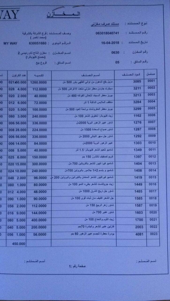 عربية منتجات فرع الشرقيه اليوم الاثنين 16-4-2018 1318