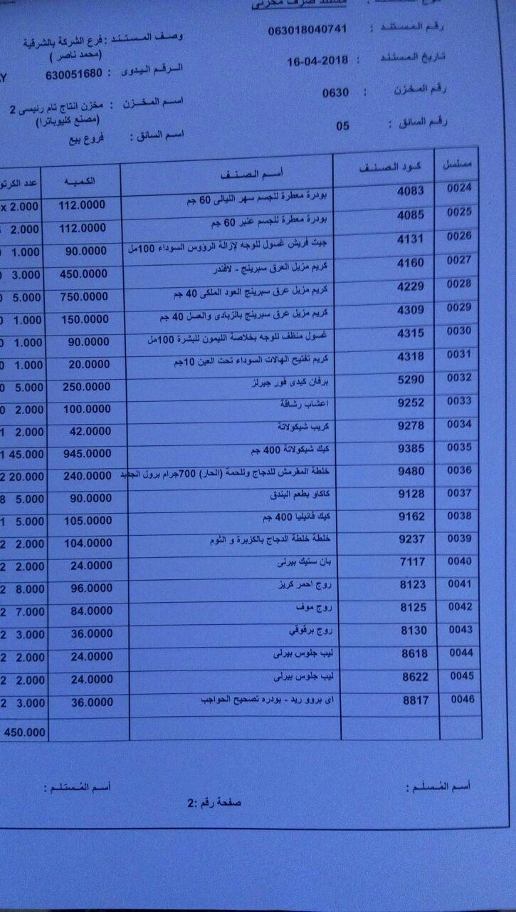 عربية منتجات فرع الشرقيه اليوم الاثنين 16-4-2018 1419