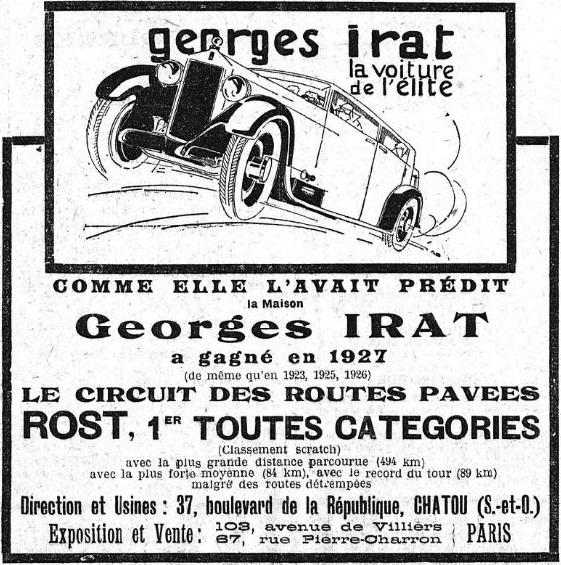 """Georges Irat, roadster """"OC3"""" à moteurs Citroën Public10"""