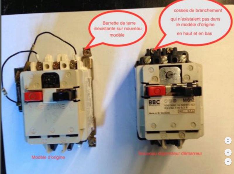 remplacer un disjoncteur démarreur sur un moteur monophasé 220 V 610