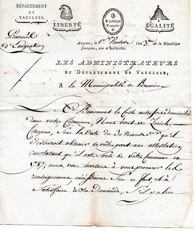 demande de certificat de non émigration en 1795 Demand10