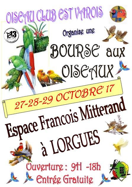 """[Var 83510] Bourse aux oiseaux à Lorgues """"entrée gratuite"""". Affich10"""