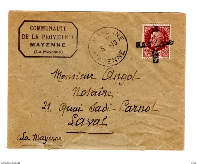 Entier postal Iris 1f20 + 2 timbres Pétain a 60cts, ces dernier non oblitéré au 30.09.44 ! 340_0011